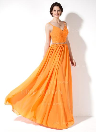 A-Line/Princess Chiffon Bridesmaid Dresses Ruffle Beading V-neck Sleeveless Floor-Length (007022551)