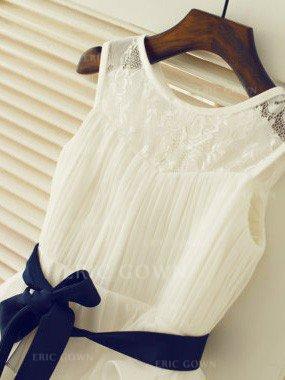 A-Line/Princess Scoop Neck Tea-length With Ruffles/Sash Chiffon/Lace Flower Girl Dresses (010211886)