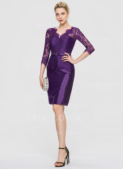 Sheath/Column V-neck Knee-Length Taffeta Cocktail Dress (016189344)
