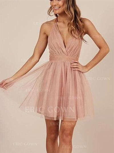 A-Line/Princess Halter Short/Mini Cocktail Dresses With Ruffle Bow(s) (016218456)