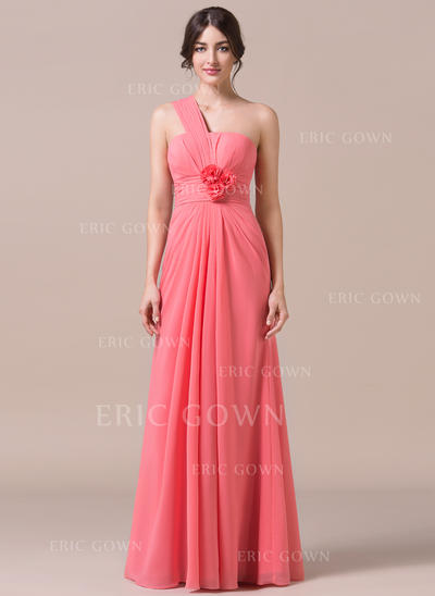 Trumpet/Mermaid Chiffon Bridesmaid Dresses Ruffle Flower(s) One-Shoulder Sleeveless Floor-Length (007057701)