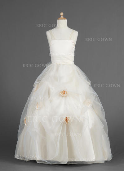 Ball Gown Sweetheart Floor-length With Flower(s)/Pick Up Skirt Organza/Charmeuse Flower Girl Dresses (010014619)