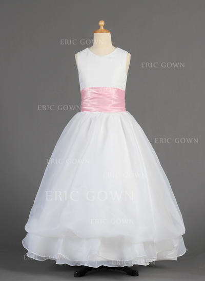 Fashion Scoop Neck A-Line/Princess Flower Girl Dresses Floor-length Organza/Charmeuse Sleeveless (010014615)