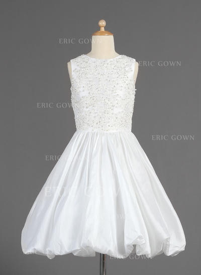 Chic Scoop Neck A-Line/Princess Flower Girl Dresses Tea-length Taffeta Sleeveless (010014614)