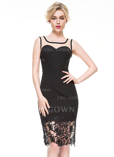 Sheath/Column Square Neckline Knee-Length Jersey Cocktail Dress With Lace (016081211)