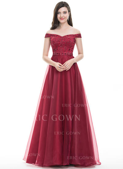 A-Line/Princess Off-the-Shoulder Floor-Length Organza Prom Dresses With Beading Sequins (018105564)