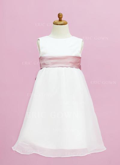 Glamorous Scoop Neck Empire Flower Girl Dresses Floor-length Organza/Satin Sleeveless (010005332)