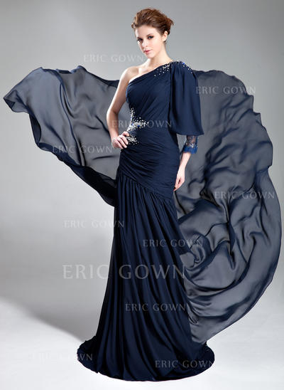 A-Line/Princess One-Shoulder Court Train Evening Dresses With Ruffle Beading (017019762)
