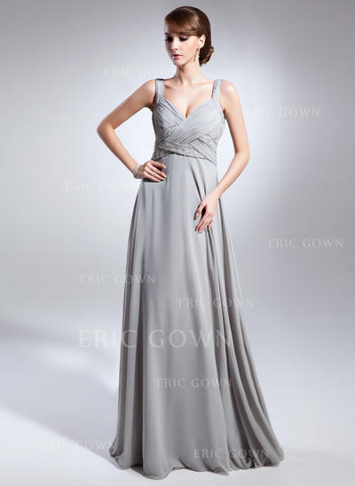 Empire Chiffon Sleeveless V-neck Floor-Length Zipper Up Mother of the Bride Dresses (008211382)