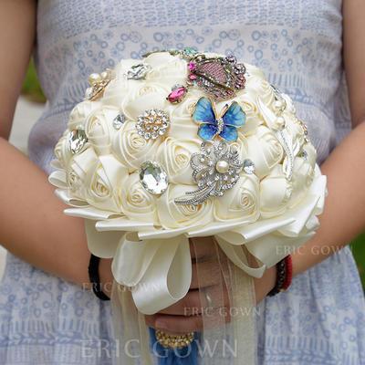 """Bridal Bouquets Round Wedding Satin/Silk/Rhinestone 11.8""""(Approx.30cm) Wedding Flowers (123189435)"""