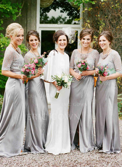 A-Line/Princess Jersey Bridesmaid Dresses Lace Scoop Neck 1/2 Sleeves Sweep Train (007212233)