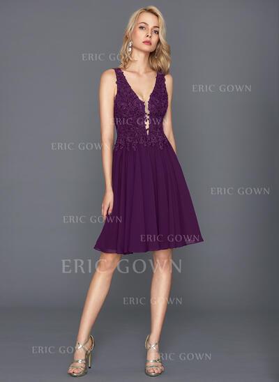 A-Line V-neck Knee-Length Chiffon Cocktail Dress (016117257)