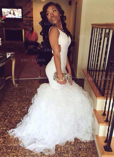 Trumpet/Mermaid Tulle Prom Dresses V-neck Sleeveless Sweep Train (018148511)