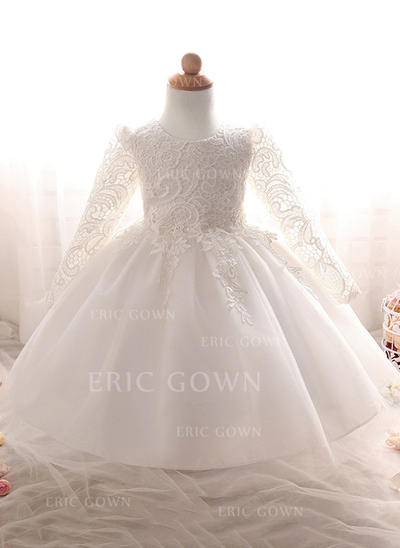 A-Line/Princess Scoop Neck Floor-length Tulle Christening Gowns With Lace (2001218000)