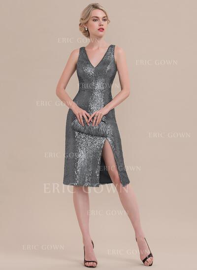 Sheath/Column V-neck Knee-Length Sequined Cocktail Dress With Split Front (016108756)