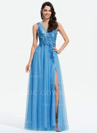 A-Line Scoop Neck Floor-Length Tulle Prom Dresses With Beading Split Front (018175940)