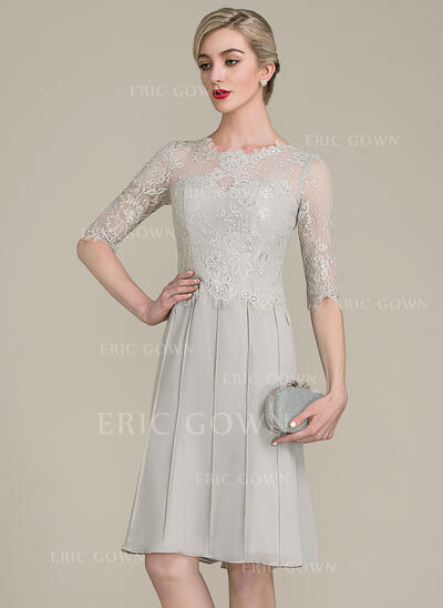 A-Line/Princess Scoop Neck Knee-Length Chiffon Lace Cocktail Dress (016121909)