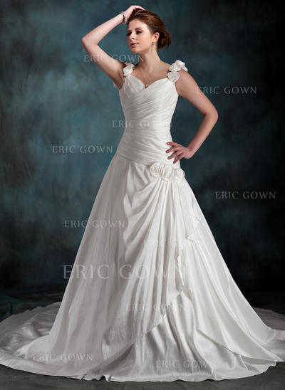 A-Line/Princess Sweetheart Chapel Train Wedding Dresses With Ruffle Flower(s) (002196850)