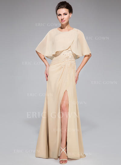 A-Line/Princess Chiffon Long Sleeves One-Shoulder Floor-Length Zipper Up Mother of the Bride Dresses (008042329)