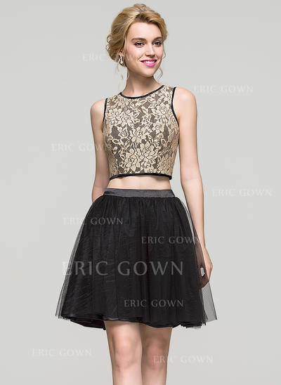 A-Line/Princess Scoop Neck Short/Mini Charmeuse Tulle Homecoming Dresses (022214112)