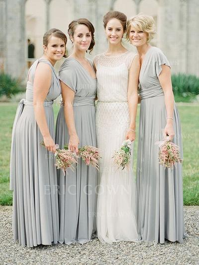 A-Line/Princess Chiffon Bridesmaid Dresses Ruffle Sash V-neck Short Sleeves Floor-Length (007212239)