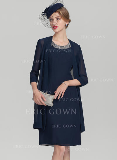 A-Line/Princess Scoop Neck Knee-Length Chiffon Cocktail Dress With Beading (016174102)
