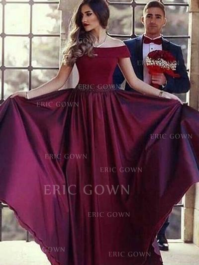 A-Line/Princess Off-the-Shoulder Sweep Train Prom Dresses With Beading (018218334)