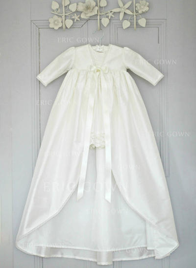 A-Line/Princess V-neck Floor-length Satin Christening Gowns With Lace (2001216819)