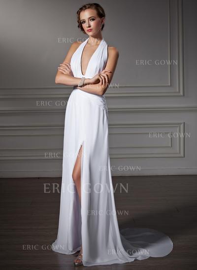 A-Line/Princess Watteau Train Prom Dresses Halter Chiffon Sleeveless (018002458)