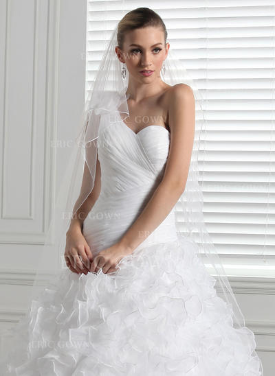 Chapel Bridal Veils Tulle Two-tier Drop Veil With Pencil Edge Wedding Veils (006150866)