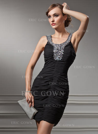 Sheath/Column Scoop Neck Short/Mini Chiffon Cocktail Dresses With Ruffle Beading (016021225)