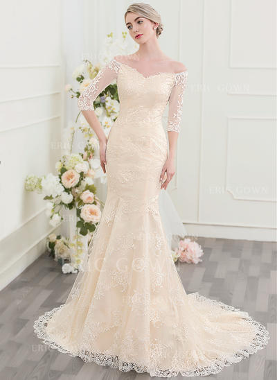 Trumpet/Mermaid Off-the-Shoulder Court Train Lace Wedding Dress (002095833)