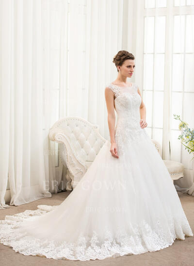 Ball-Gown/Princess Illusion Chapel Train Tulle Lace Wedding Dress With Beading Sequins (002054359)