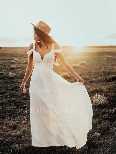A-Line/Princess Chiffon Sleeveless Off-The-Shoulder Floor-Length Wedding Dresses (002144940)