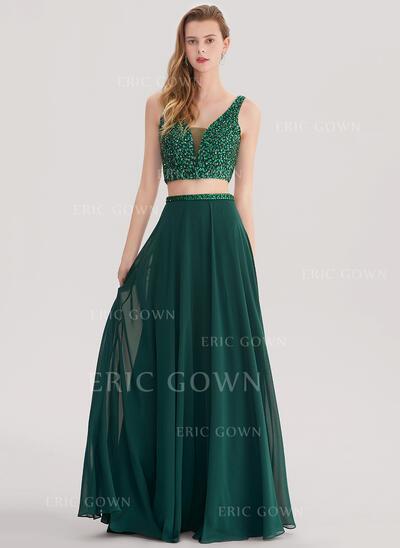 A-Line/Princess V-neck Floor-Length Chiffon Prom Dresses With Beading Sequins (018138338)