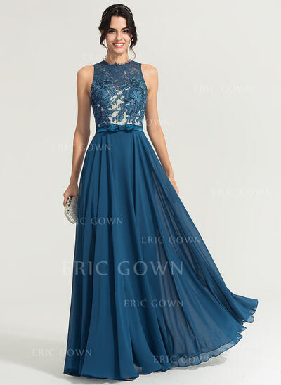 A-Line/Princess Scoop Neck Floor-Length Chiffon Evening Dress With Bow(s) (017167683)