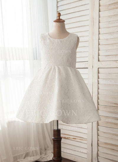 A-Line/Princess Knee-length Flower Girl Dress - Lace Sleeveless Scoop Neck With Lace (010109481)