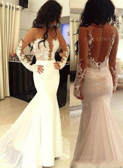 Trumpet/Mermaid Scoop Sweep Train Wedding Dresses With Appliques Lace (002217621)