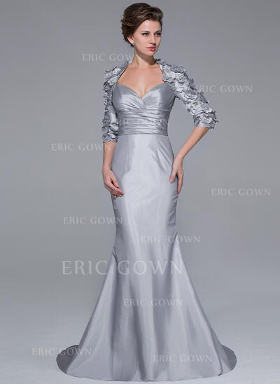 Trumpet/Mermaid Sweetheart Sweep Train Taffeta Mother of the Bride Dress With Beading Flower(s) (008025721)