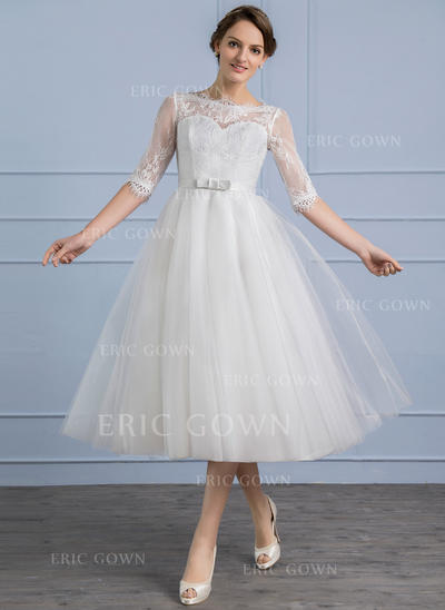 A-Line/Princess Scoop Neck Tea-Length Tulle Lace Wedding Dress With Bow(s) (002107852)