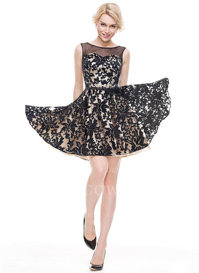 A-Line/Princess Scoop Neck Short/Mini Tulle Lace Homecoming Dresses (022214104)
