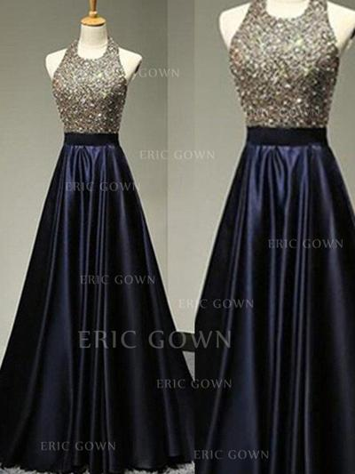 A-Line/Princess Satin Prom Dresses Beading Halter Sleeveless Floor-Length (018210390)