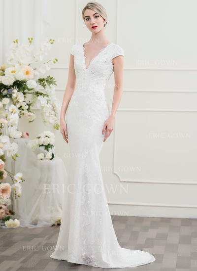 Trumpet/Mermaid V-neck Sweep Train Lace Wedding Dress With Beading Sequins (002097351)