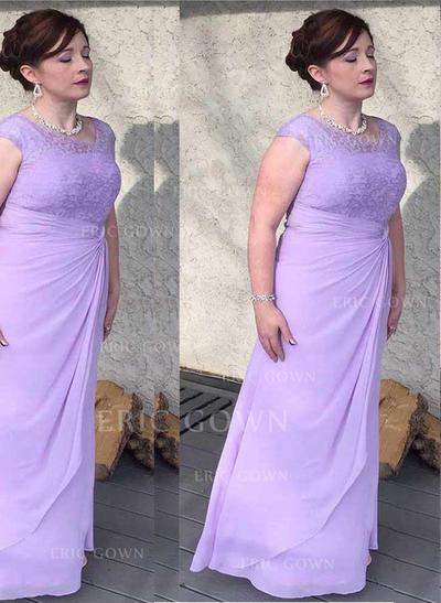 A-Line/Princess Chiffon Sleeveless Scoop Neck Floor-Length Zipper Up Mother of the Bride Dresses (008212773)