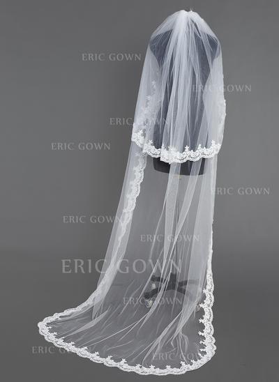 Chapel Bridal Veils Tulle Two-tier Oval/Drop Veil With Lace Applique Edge Wedding Veils (006151070)