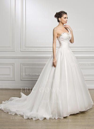 Ball-Gown Sweetheart Court Train Organza Wedding Dress With Ruffle Beading Sequins (002056923)