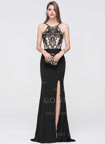 Sheath/Column Scoop Neck Floor-Length Jersey Prom Dresses With Split Front (018093793)
