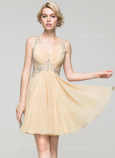 A-Line/Princess V-neck Short/Mini Chiffon Homecoming Dresses With Ruffle Lace Beading Sequins (022214100)
