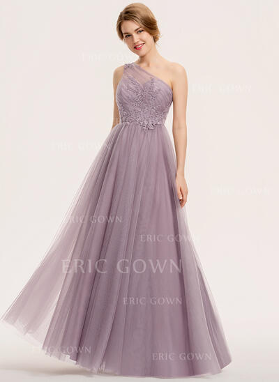 A-Line One-Shoulder Floor-Length Tulle Lace Evening Dress With Ruffle (017211408)