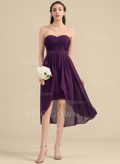 A-Line Sweetheart Asymmetrical Chiffon Bridesmaid Dress (007153333)
